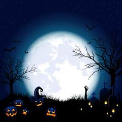 Halloween Hintergrund mit Kürbissen und Mond bei Nacht
