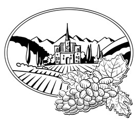 Grapes with Sketched Vineyard Farm Label