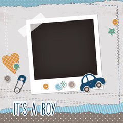 Baby boy scrapbook elements, photoframe, buttons, toy car, pin