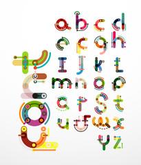 Linear design font, alphabet