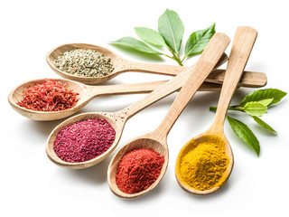 Assortment of colorful spices in the wooden spoons on the white