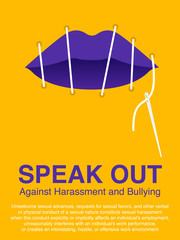 Lip sewing of the woman mouth. Sexual harassment, Stop violence against women, Workplace bullying concept poster.