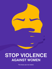 Hand of a man covering woman mouth. Sexual harassment, Stop violence against women, Workplace bullying concept poster.