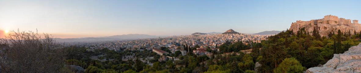 Fototapete - Panorama über das antike und moderne Athen bei Sonnenuntergang