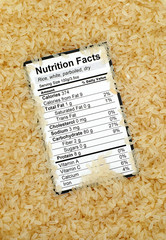 Nutrition facts of dry white parboiled rice
