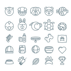 Vector outline pet shop, zoo or veterinary icons set. Linear illustration of cat, dog, bird, snake, fish, rabbit, turtle. Goods for animals, Design concept for pets care and grooming.
