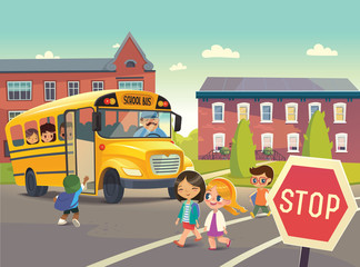 Back To School Safety Concept. Vector illustration.