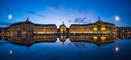 Bordeaux, France, Illuminated Reflection In Water At Place De La