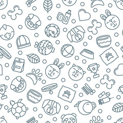 Vector seamless pattern with outline pets icons. Goods for animals. Design for pet shop, pets care, grooming or veterinary. Monochrome simple background for textile print, wrapping paper.