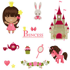Princess, unicorn, castle and other princess design elements