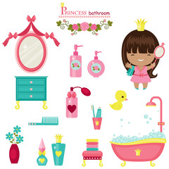 Princess bathroom collection. Isolated cute vector icons over wh