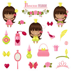 Three little princesses and fashion accessories.