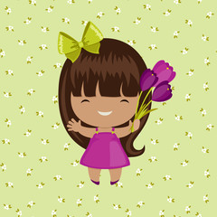 Happy little girl with bouquet of flowers on floral background
