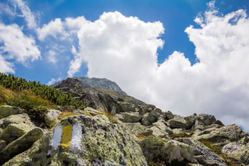 Mountain footpath with a yellow and white trail sign on a rock. Retezat, Carpahian Mountains, Romania, Europe