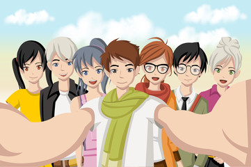 Group of cartoon young people taking telfie photo. Picture of manga anime teenagers.