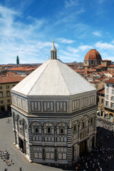 Florence, Italy - Cathedral baptistery. Old religious landmark o
