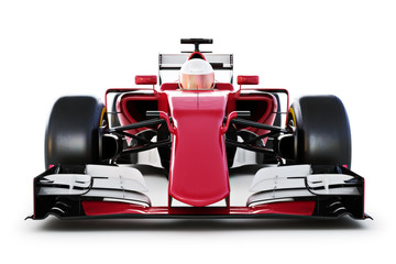 Race car and driver front view on a white isolated background. 3d rendering