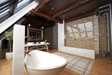 Interior of a modern open bathroom with unique bathtub, walk through brick and glass shower with rustic accents and wood flooring . 3d rendering