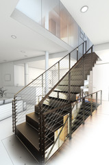 Sketch design of a stair hall ,3d rendering wire frame concepts