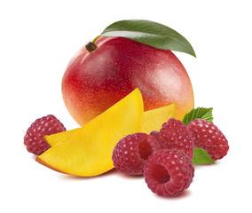 Whole mango fruit raspberry isolated on white background as package design element