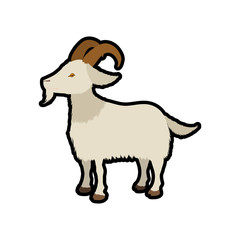 Goat animal farm pet character icon. Isolated and flat illustration. Vector graphic