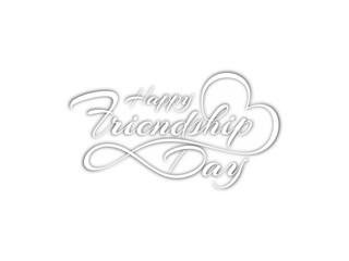 Creative white color happy friendship day text design