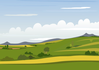 Spring Mountain Landscape - Background Illustration, Vector