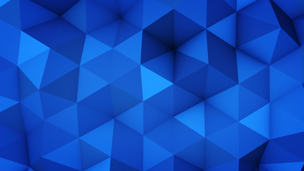 Blue polygonal geometric surface 3D rendering