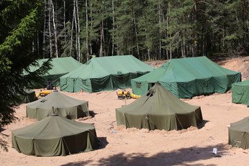 Military tents in the forest