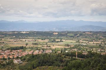 View over the impressive landscape in Tuscany near San Miniato in Italy