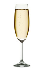 A glass of champagne isolated on a white background