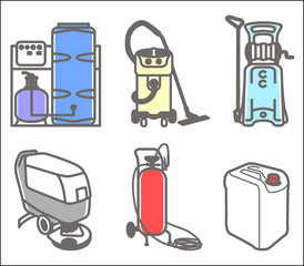 Set illustration of cleaning equipment