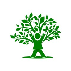 Green Child Tree Icon