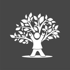 White Child Tree Icon on black