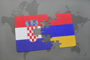 puzzle with the national flag of croatia and armenia on a world map background.