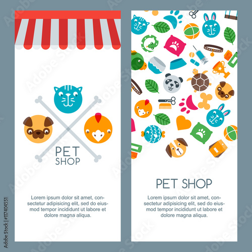 Pet Shop Zoo Or Veterinary Banner Poster Or Flyer Template Vector