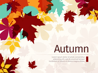 Autumn Leaves Background. Flat Design Style.