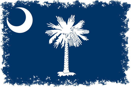 Flag of South Carolina with distressed edges