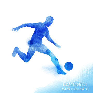 Professional Football player about to strike the ball - watercolour vector illustration.