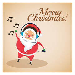 Merry Christmas concept represented by santa icon over pastel brown background. Colorfull and classic illustration inside frame.