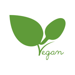 leaf green vegan organic icon. Isolated and flat illustration. Vector graphic