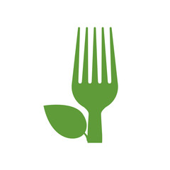 fork leaf green vegan organic icon. Isolated and flat illustration. Vector graphic