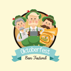cartoon man saxophone mustache beer festival oktoberfest germany icon. Colorfull and seal stamp with ribbon illustration. Vector graphic