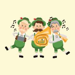 cartoon men male saxophone beer festival oktoberfest germany icon. Colorfull illustration Pastel background. Vector graphic