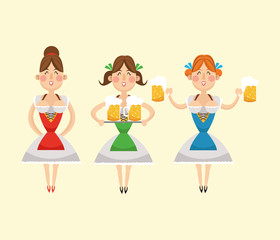 cartoon woman girl dress beer festival oktoberfest germany icon. Colorfull illustration Pastel background. Vector graphic