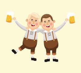 cartoon men male beer festival oktoberfest germany icon. Colorfull illustration Pastel background. Vector graphic
