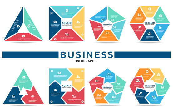 Block infographic for business (part three , part four, part Five and part six) vector set design
