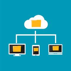 Cloud computing concept. Devices connect to cloud computing. File management.