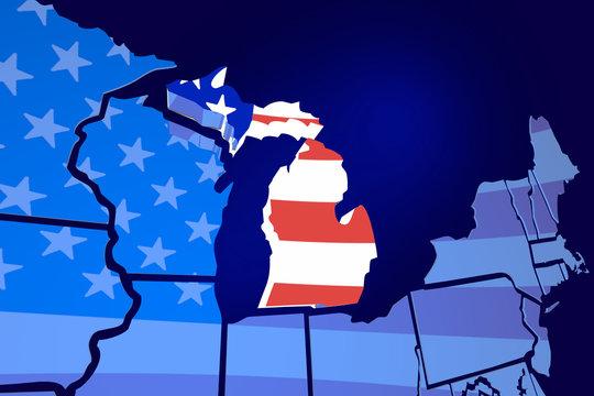 Michigan State Map USA United States America Flag 3d Illustratio