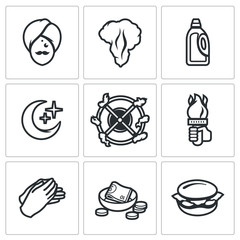 Vector Set of Fire Show Icons. Fakir, Flame, Fuel, Night, Trick, Torch, Applause, Donation, Food.